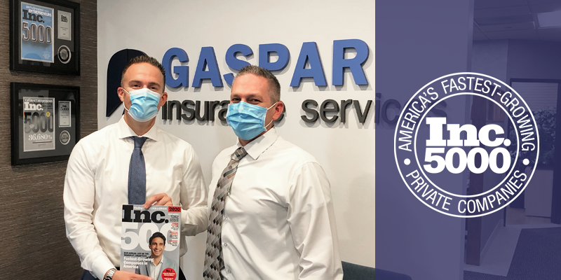 For the 3rd Time, Gaspar Insurance Appears on the Inc. 5000 List